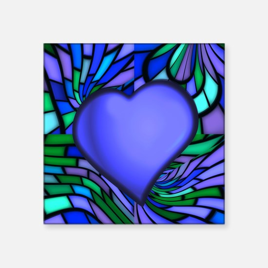 """Blue Stained Glass Heart Square Sticker 3"""" x 3"""""""