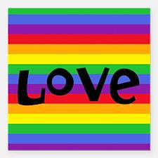 "Cute Rainbow coexist Square Car Magnet 3"" x 3"""
