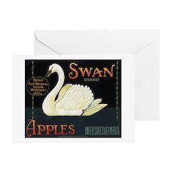 Swan Fruit Crate Label Greeting Card
