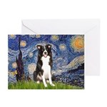 Starry Night Border Collie Greeting Cards (Pk of 2