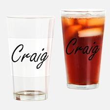 Craig surname artistic design Drinking Glass