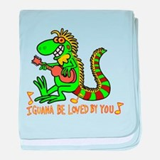 I want to be loved by you Iguana baby blanket