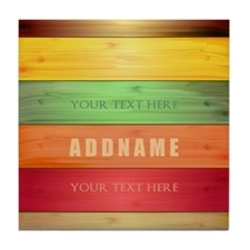 Personalized Colorful Wood Texture Tile Coaster