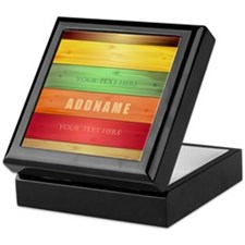 Personalized Colorful Wood Texture Keepsake Box