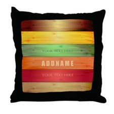 Personalized Colorful Wood Texture Throw Pillow
