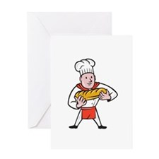 Baker Holding Bread Loaf Isolated Cartoon Greeting