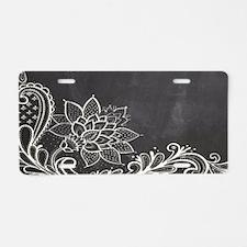 white lace black chalkboard Aluminum License Plate