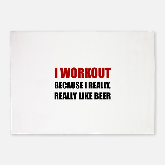 Workout Beer 5'x7'Area Rug