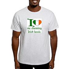 I (Heart) Irish Lassie Ash Grey T-Shirt