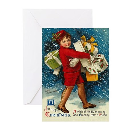 Christmas Joy Vintage Greeting Cards (Pk of 10)
