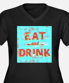 EAT and DRINK red, yellow Plus Size T-Shirt