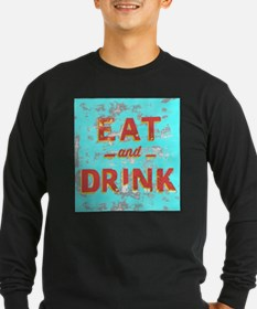 EAT and DRINK red, yellow Long Sleeve T-Shirt