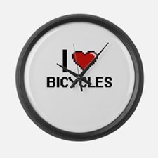 I Love Bicycles Digitial Design Large Wall Clock