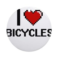 I Love Bicycles Digitial Design Ornament (Round)