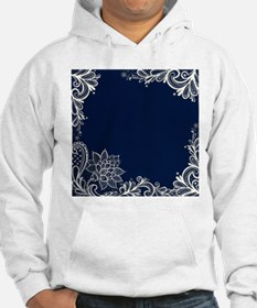 navy blue white lace Hoodie