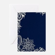 navy blue white lace Greeting Cards