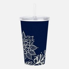 navy blue white lace Acrylic Double-wall Tumbler