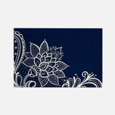 navy blue white lace Magnets