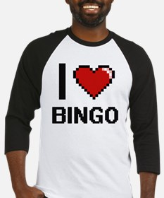 I Love Bingo Digitial Design Baseball Jersey
