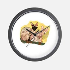Tiger & George - Cornish Rex Cats Wall Clock