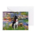 Lilies & Boston Terrier Greeting Cards (Pk of 20)