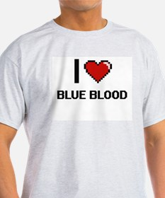 I Love Blue Blood Digitial Design T-Shirt