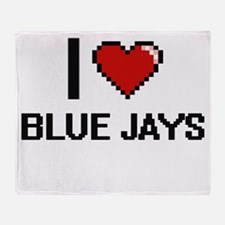 I Love Blue Jays Digitial Design Throw Blanket