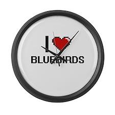 I Love Bluebirds Digitial Design Large Wall Clock