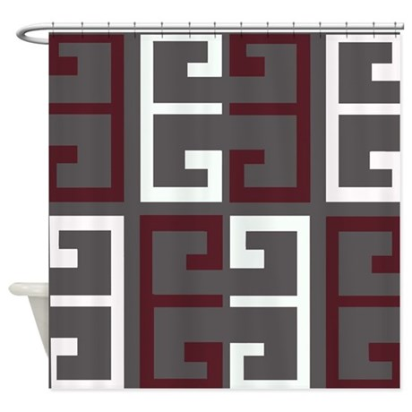 Charcoal And Maroon Tile Shower Curtain By Crazycheckerboards