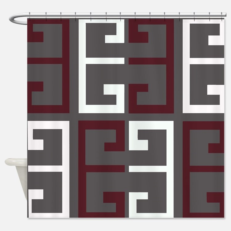 Gray And Maroon Shower Curtains