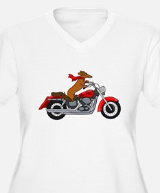 Dachshund on Motorcycle Plus Size T-Shirt