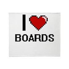 I Love Boards Digitial Design Throw Blanket