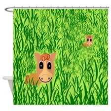 Funny Cartoon bathrooms Shower Curtain
