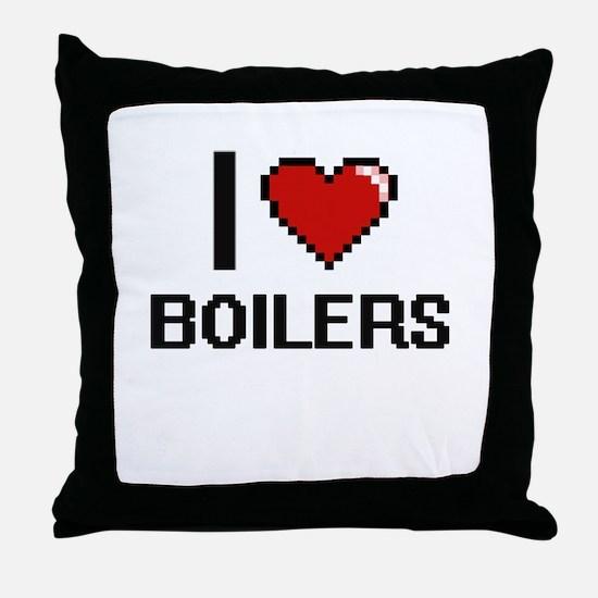 I Love Boilers Digitial Design Throw Pillow