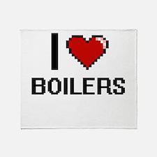 I Love Boilers Digitial Design Throw Blanket