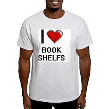 I Love Book Shelfs Digitial Design T-Shirt