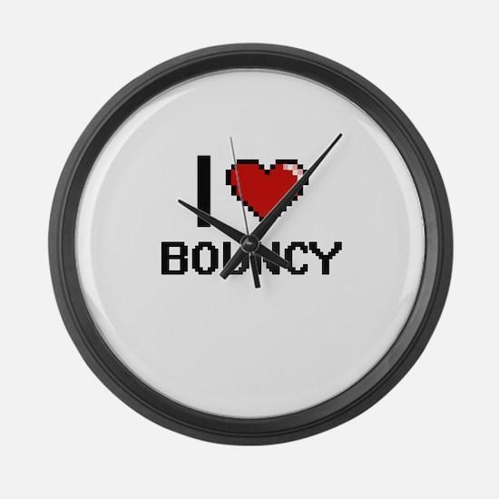 I Love Bouncy Digitial Design Large Wall Clock