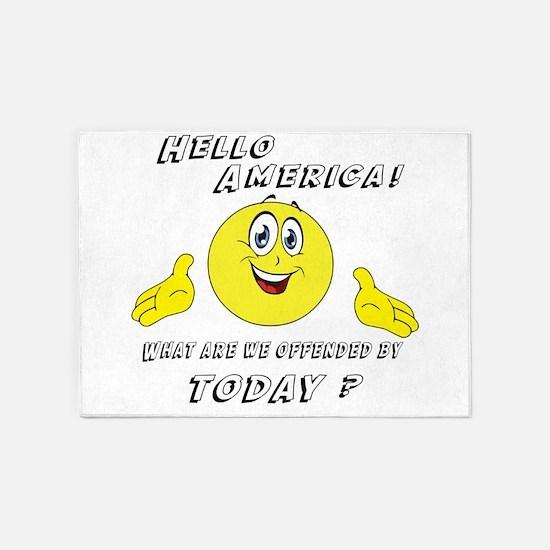 Hello America Sarcastic Smiley 5'x7'Area Rug