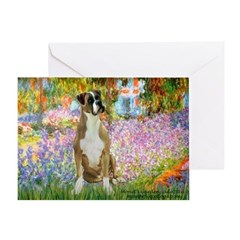 Boxer in Monet's Garden Greeting Card