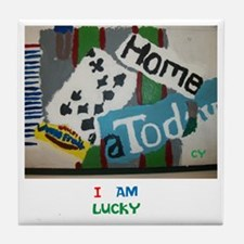 I AM LUCKY. TWINKLING STARS. Tile Coaster