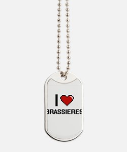 I Love Brassieres Digitial Design Dog Tags