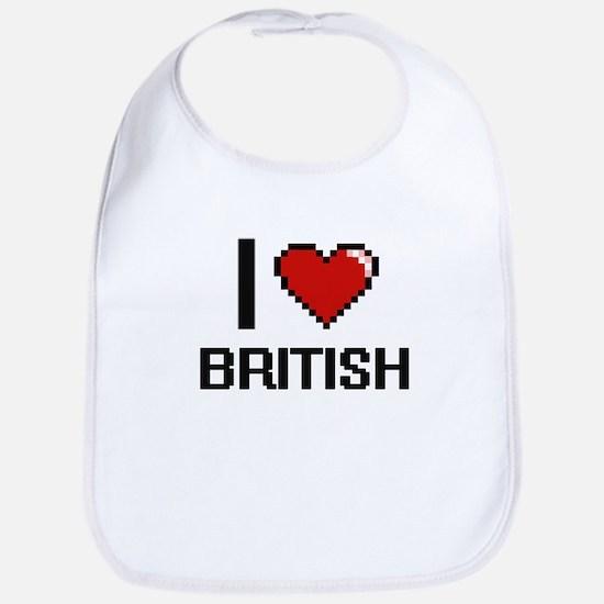 I Love British Digitial Design Bib