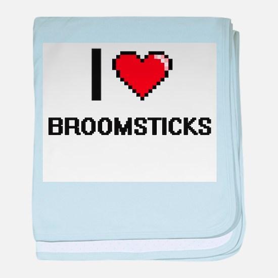 I Love Broomsticks Digitial Design baby blanket