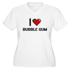 I Love Bubble Gum Digitial Desig Plus Size T-Shirt