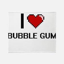 I Love Bubble Gum Digitial Design Throw Blanket