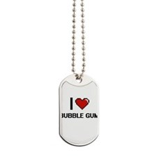 I Love Bubble Gum Digitial Design Dog Tags