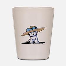 KiniArt Bichon In Hat Shot Glass