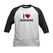 I Love Burgers Digitial Design Baseball Jersey