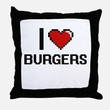 I Love Burgers Digitial Design Throw Pillow