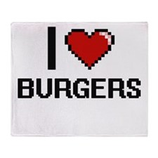 I Love Burgers Digitial Design Throw Blanket